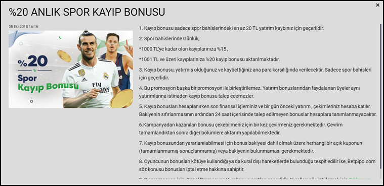 Betpipo Spor Kayıp Bonus